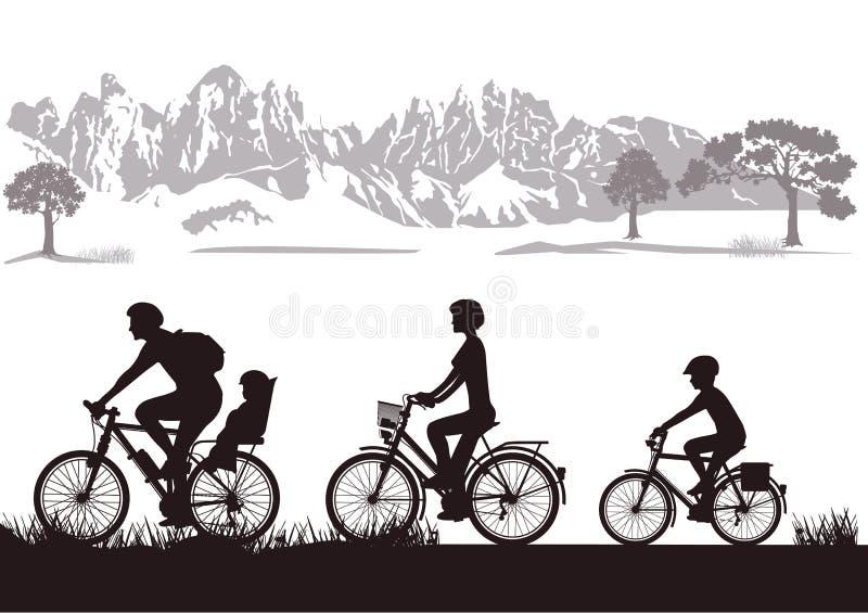 Familj som cyklar i bygd vektor illustrationer