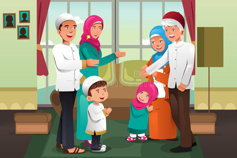 Familj som firar Eid-Al-fitr stock illustrationer