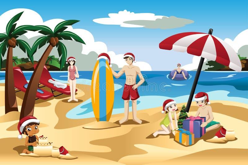 Familj som firar jul på stranden vektor illustrationer