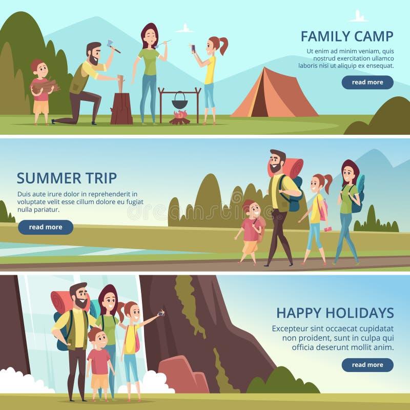 Familj som fotvandrar baner Ungar med det campa utomhus- utforskareberget för föräldrar som går vektortecken vektor illustrationer