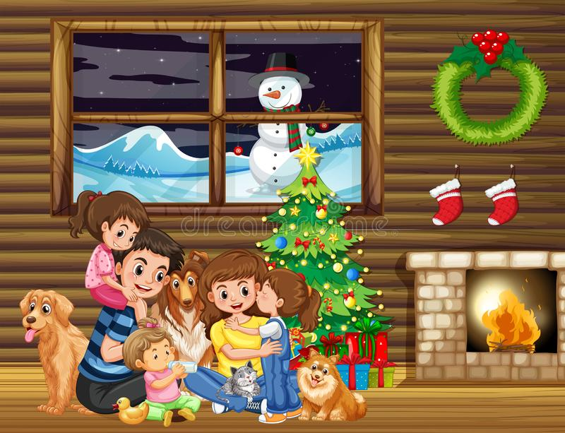 Familj som framme sitter av julträd vektor illustrationer