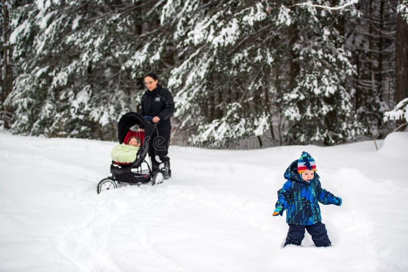 Familj som går i djup snö på en parkera royaltyfri fotografi