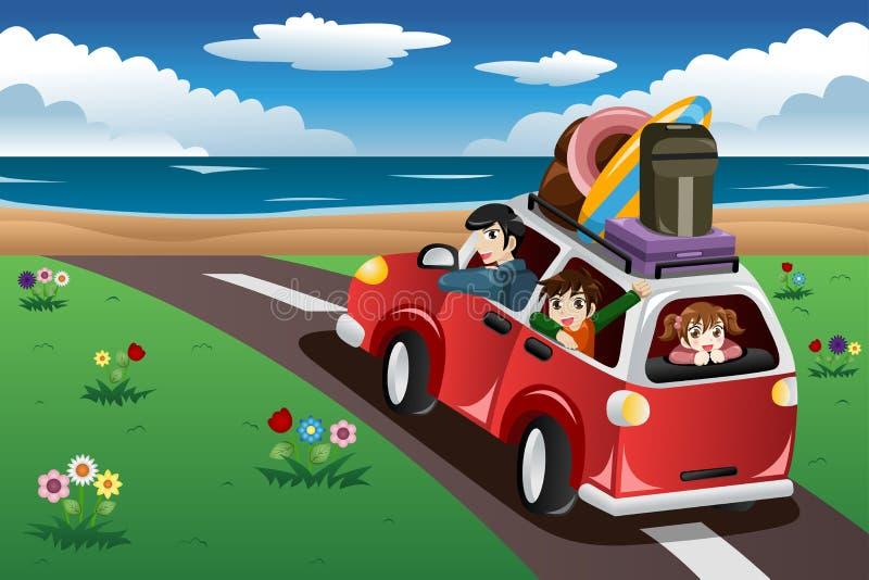 Familj som går på en strandsemester vektor illustrationer