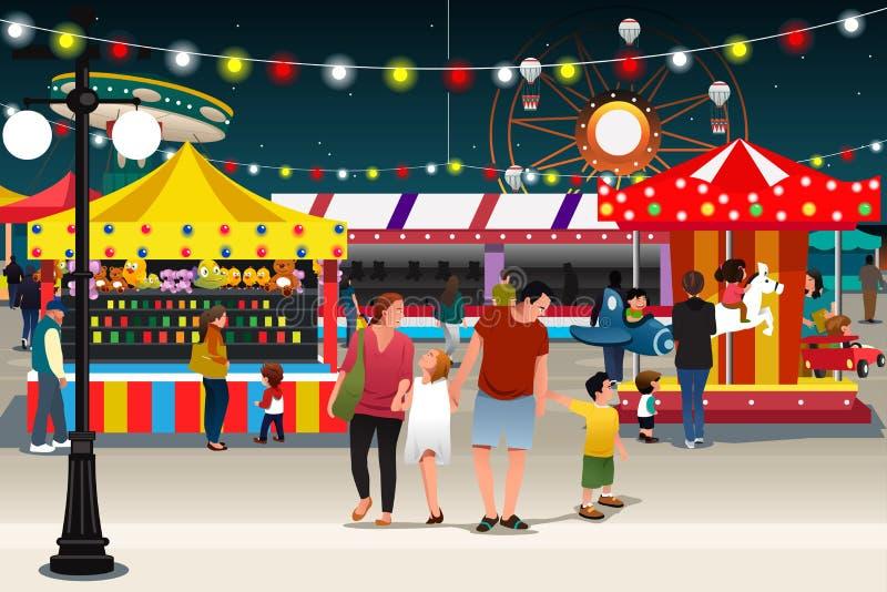 Familj som går till nattmarknaden royaltyfri illustrationer