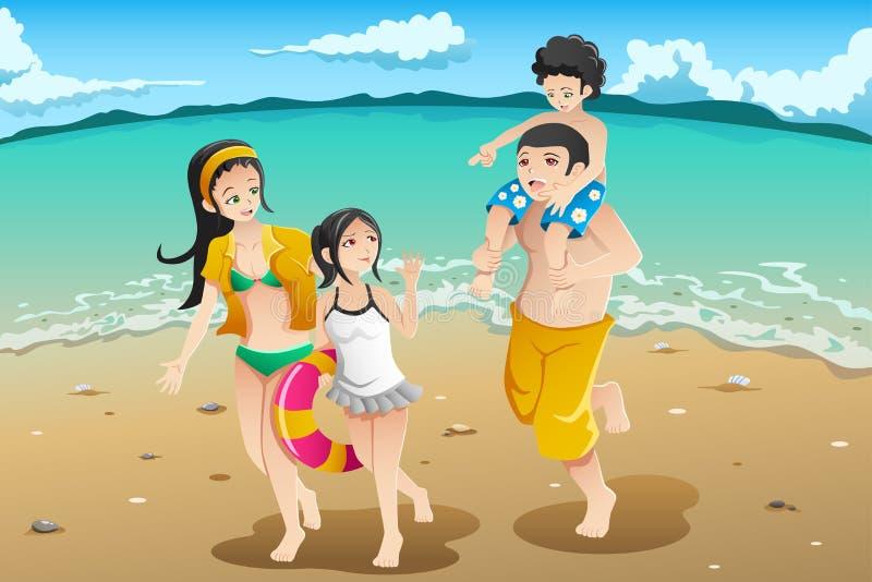 Familj som går till stranden vektor illustrationer