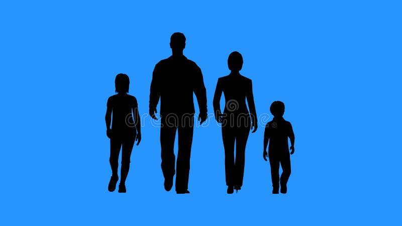 familj som går tillsammans Föräldrar och deras barn royaltyfri illustrationer
