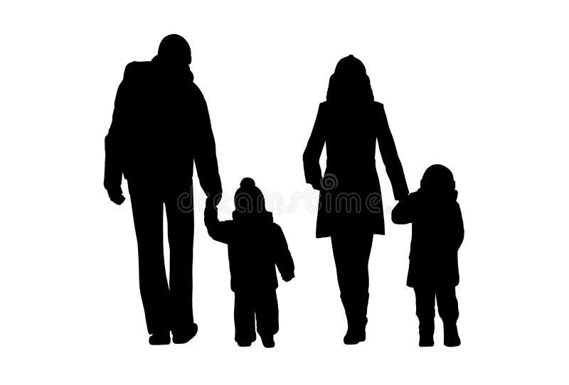 Familj som går utomhus- konturuppsättning 1 stock illustrationer