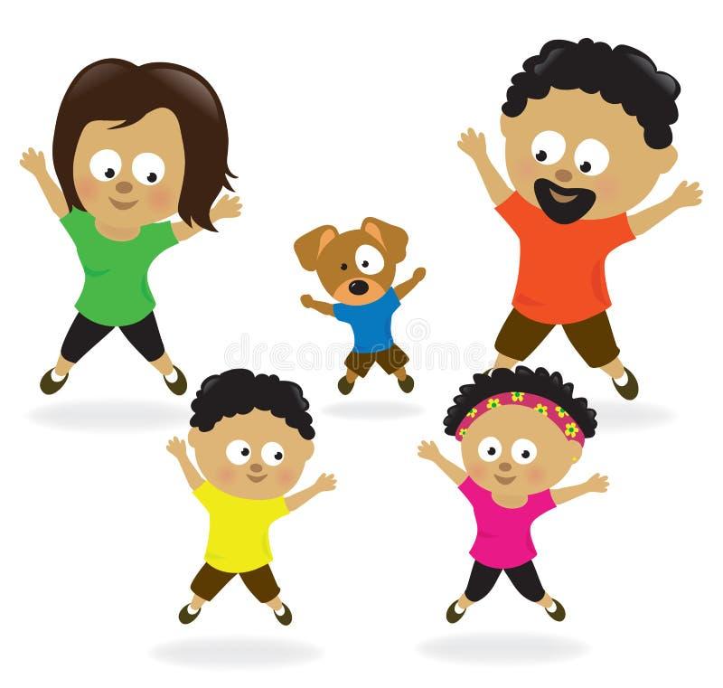 Familj som gör banhoppningstålar 2 vektor illustrationer