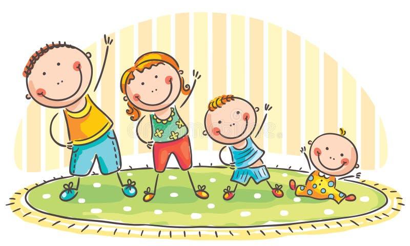 Familj som gör morgonövningar stock illustrationer