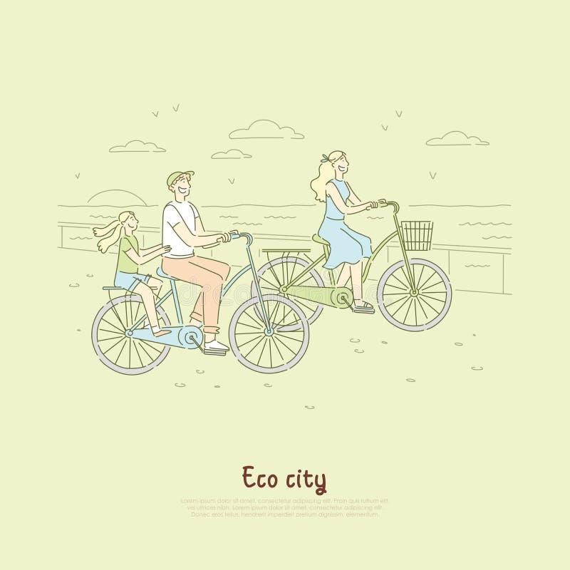 Familj som har cykelritt nära kust av havet, hav, ekologiskt vänligt trans., roligt helgaktivitetsbaner stock illustrationer