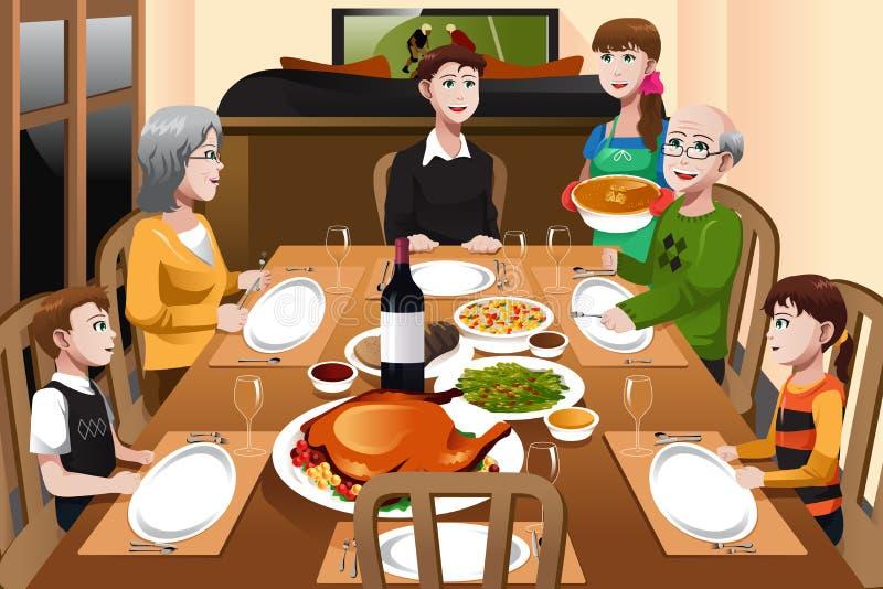 Familj som har en tacksägelsematställe royaltyfri illustrationer
