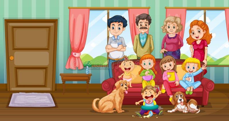 Familj som har gyckel i livingroom royaltyfri illustrationer
