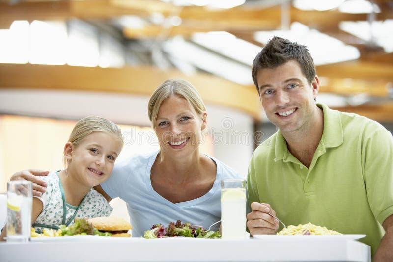 familj som har lunchgallerien tillsammans royaltyfri foto