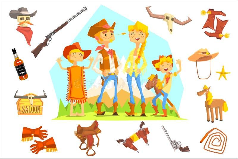 Familj som kläs som cowboyer som omges av vilda västern släkta objekt stock illustrationer