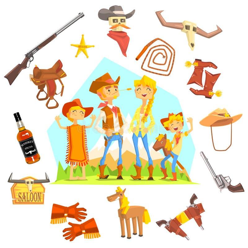 Familj som kläs som cowboyer som omges av vilda västern släkta objekt royaltyfri illustrationer