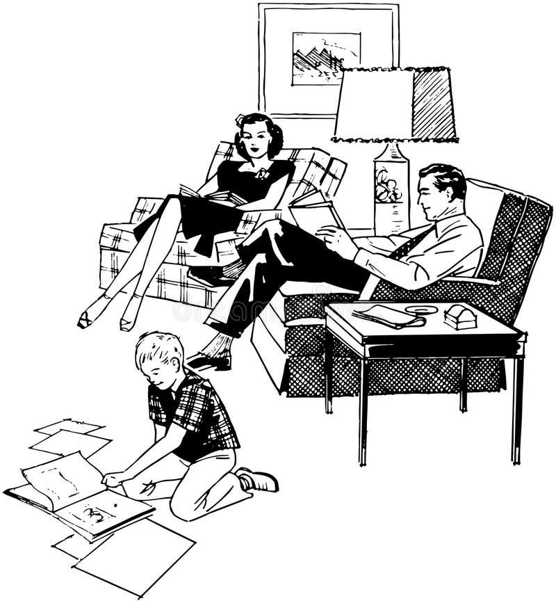 Familj som kopplar av i livingroom stock illustrationer