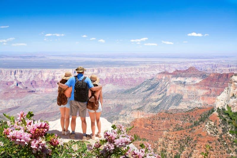 Familj som kopplar av och tycker om härlig bergsikt på semestern som fotvandrar tur fotografering för bildbyråer
