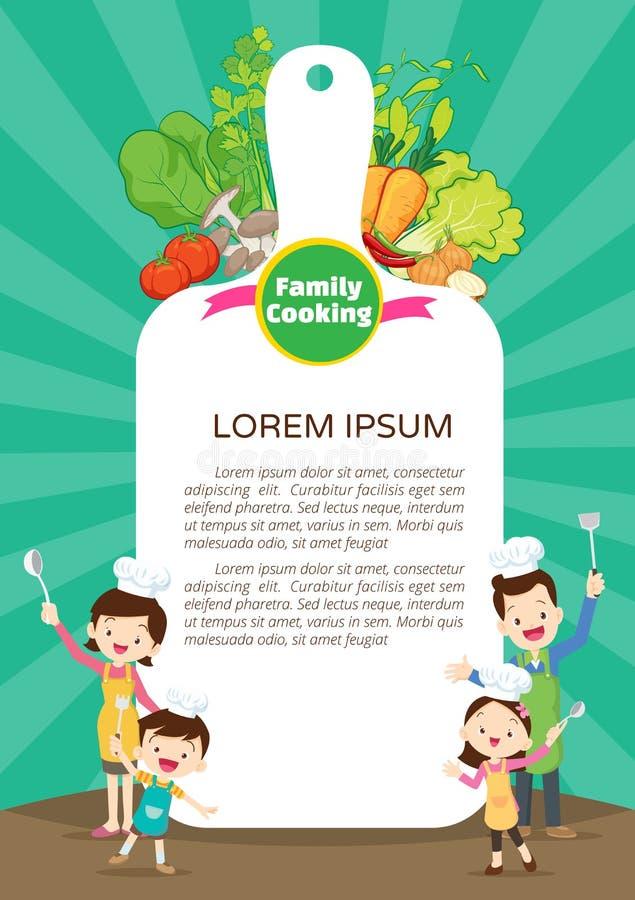 Familj som lagar mat mallen för design för målkökmeny Gullig liten kock som lagar mat m?lm?n vektor illustrationer