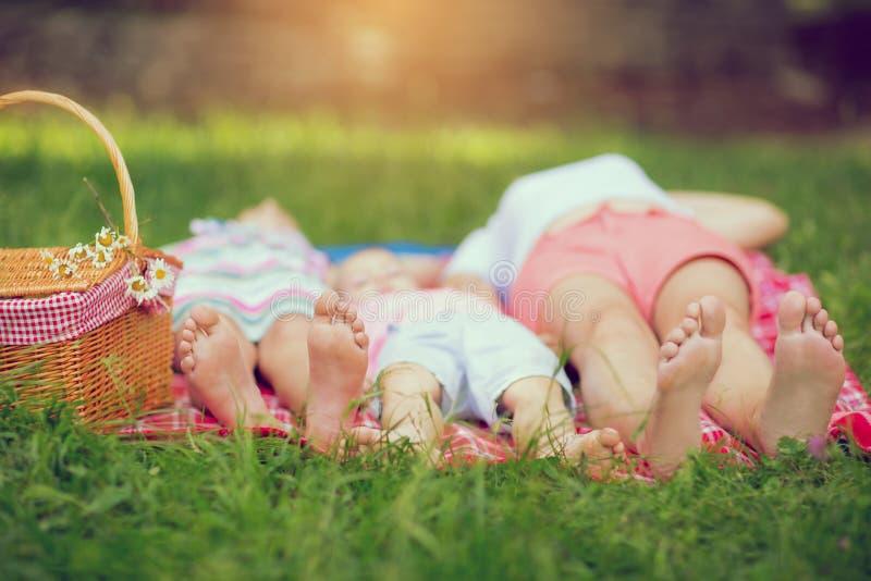 Familj som ligger på grönt gräs i parkera fotografering för bildbyråer
