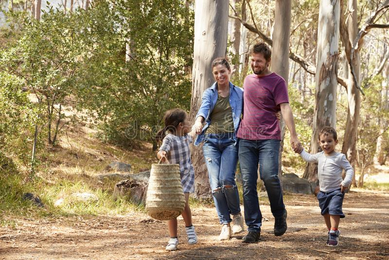 Familj som promenerar banan till och med Forest Together arkivbilder
