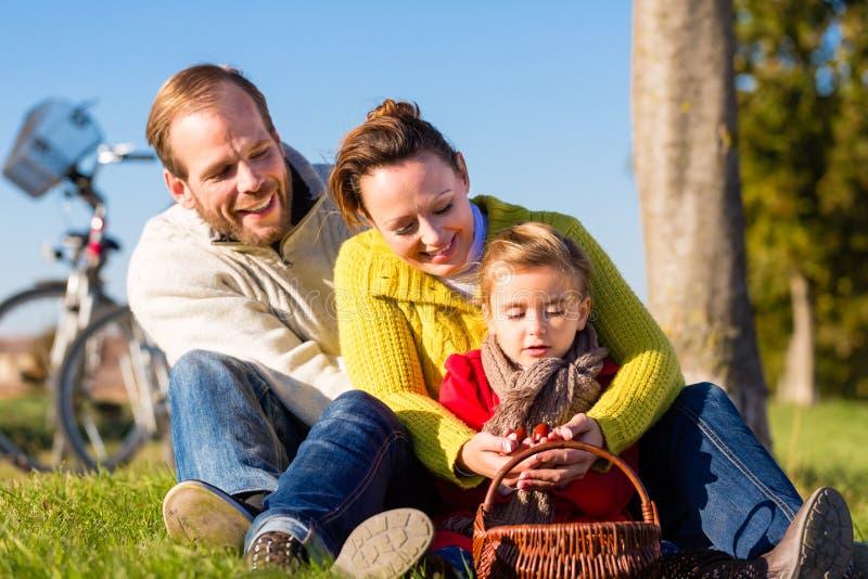 Familj som samlar kastanjer på cykeltur royaltyfri bild