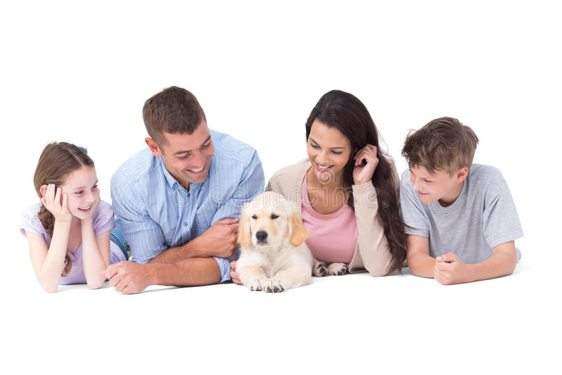 Familj som ser valpen, medan ligga royaltyfria foton