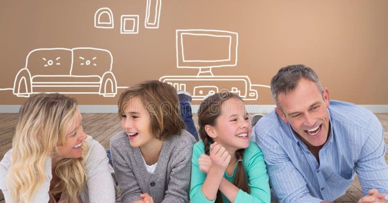 Familj som skrattar ha tillsammans gyckel med hem- och televisionteckningar arkivfoto