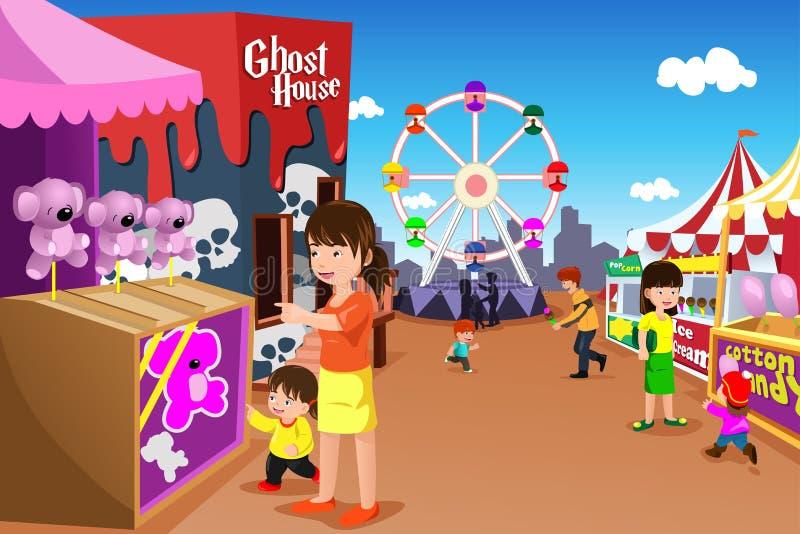 Familj som spelar i ett nöjesfält royaltyfri illustrationer