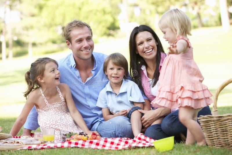 Familj som tillsammans tycker om picknicken arkivbild