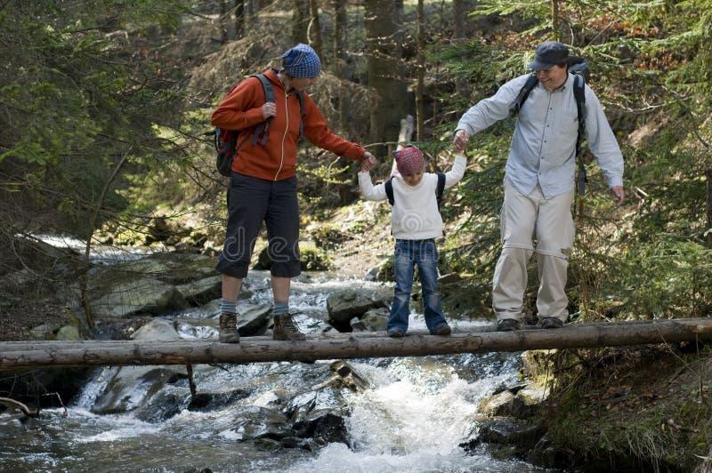familj som trekking royaltyfri fotografi