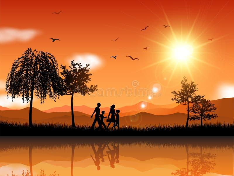 Familj som utanför går vektor illustrationer