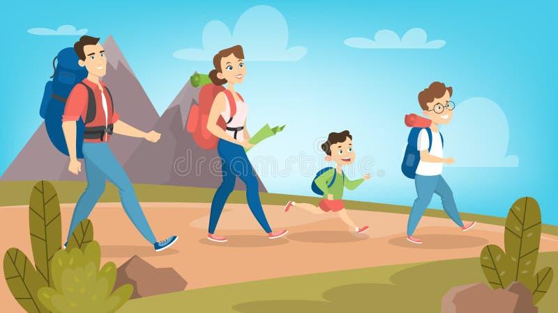 Familj som utomhus fotvandrar stock illustrationer