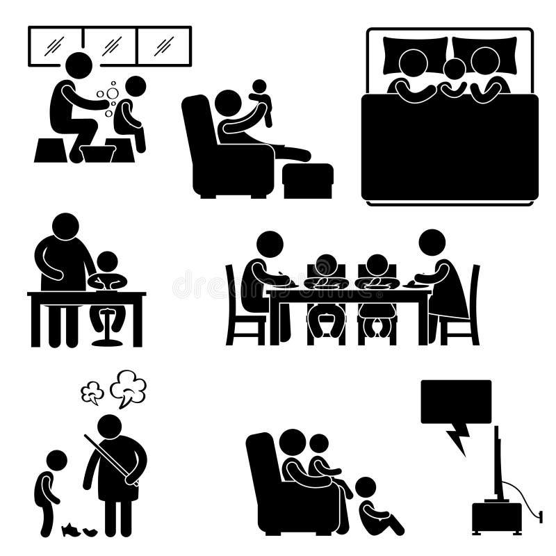 Familjaktivitet på husutgångspunktpictogramen royaltyfri illustrationer