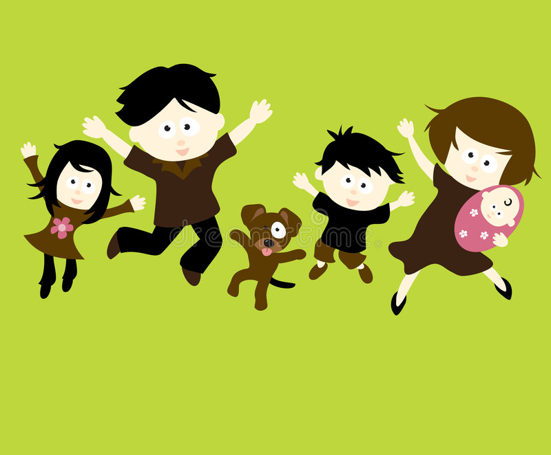 familjbanhoppning stock illustrationer