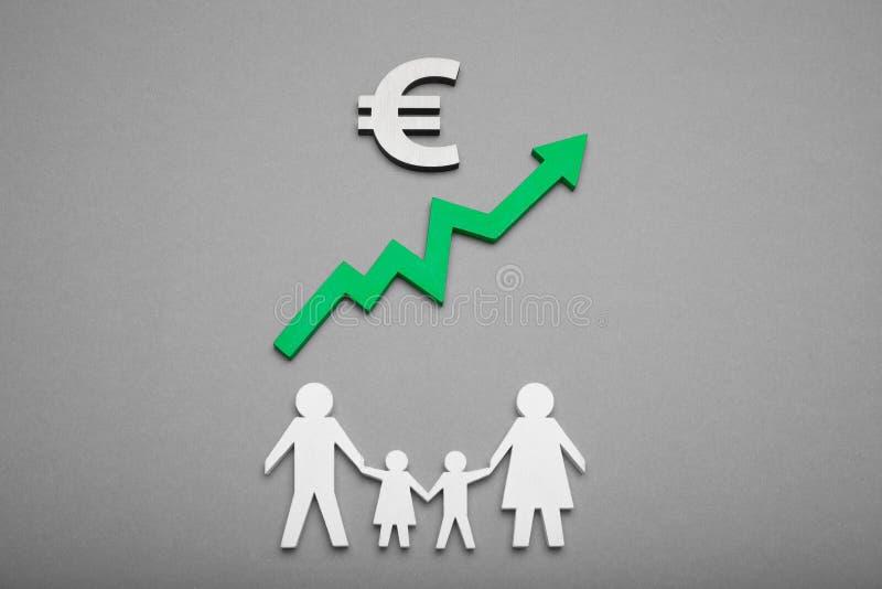Familjbankinsättning, valutatillväxt Eurokassabegrepp royaltyfria foton