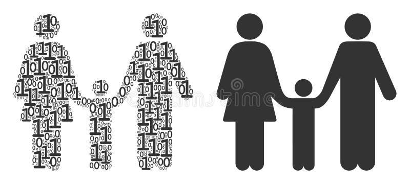 Familjbarncollage av binära siffror stock illustrationer