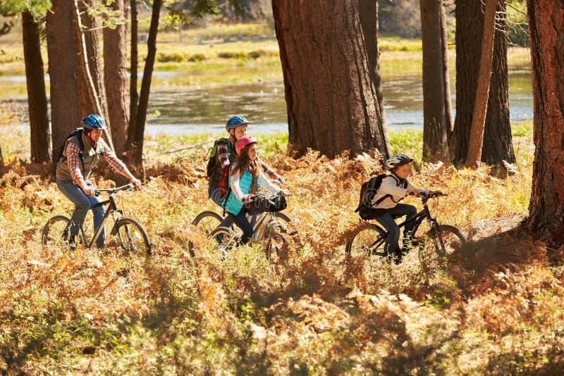 Familjberg som cyklar förbi sjön, Big Bear, Kalifornien, USA fotografering för bildbyråer
