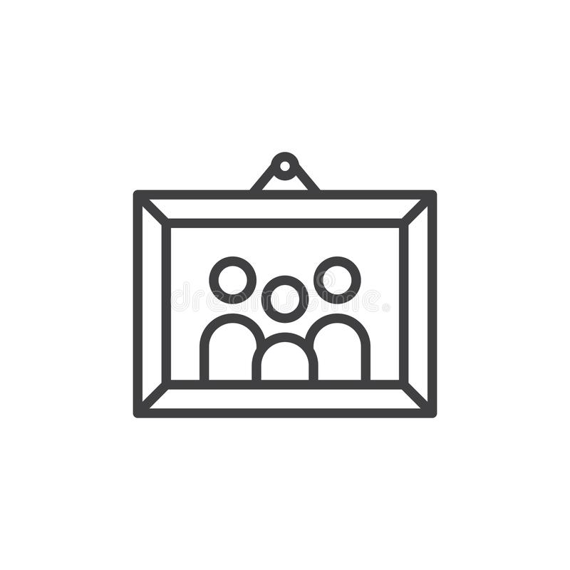 Familjbild i fotoramlinjen symbol stock illustrationer