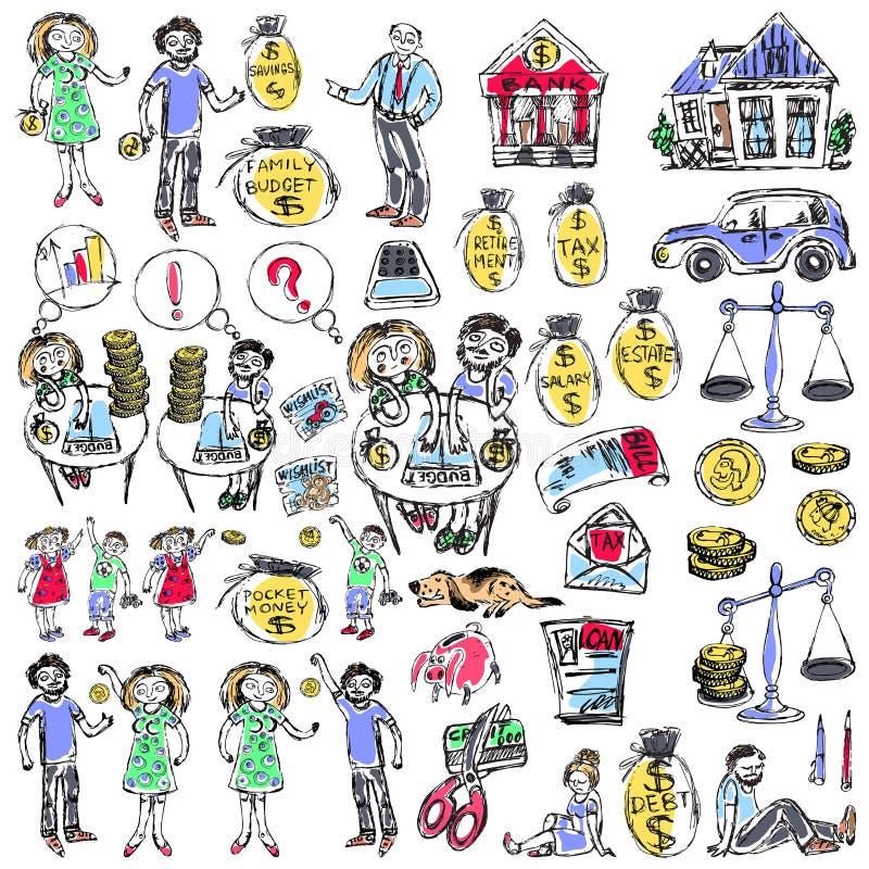 Familjbudget liknande 2 stock illustrationer