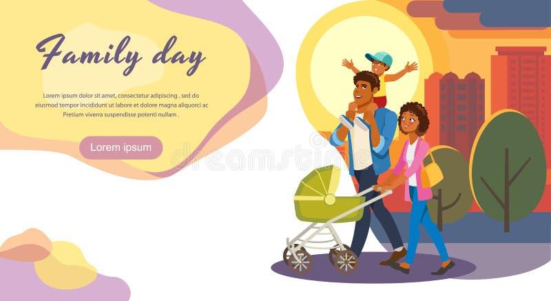 Familjdag ut sidan för tecknad filmvektorlandning royaltyfri illustrationer