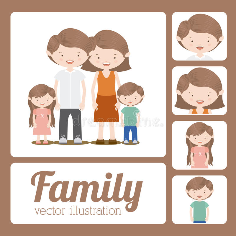 Familjdesign stock illustrationer