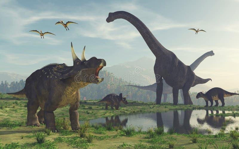 Familjdinosaurien royaltyfri illustrationer