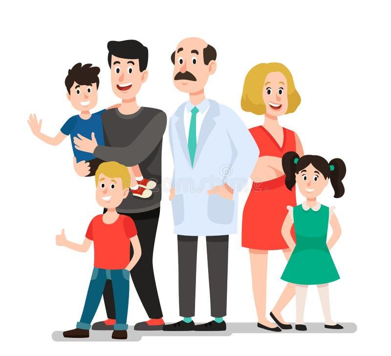 Familjdoktor Le den lyckliga patientfamiljståenden med tandläkaren som ler den sunda illustrationen för barntecknad filmvektor vektor illustrationer