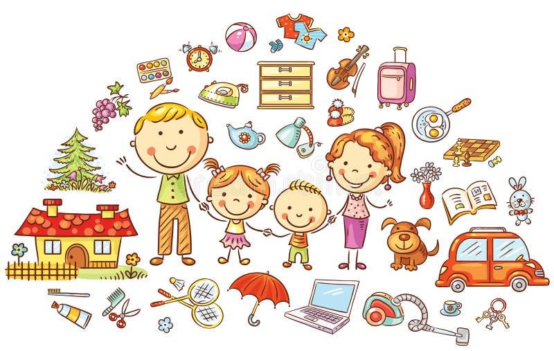Familjeliv- och hushålluppsättning stock illustrationer