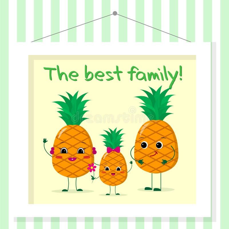 Familjen av ananassmileys, mamman, farsan och ungen i tecknad film utformar Föreställt i en den målning hänger på en randig vägg royaltyfri illustrationer