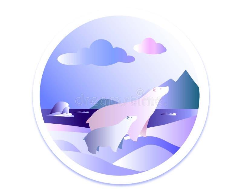 Familjen av isbjörnar på ett snöig går royaltyfri illustrationer