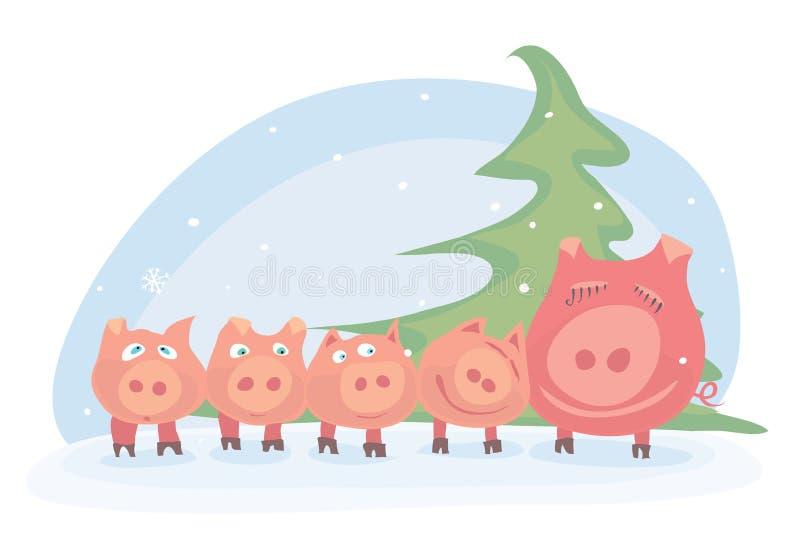 Familjen av rosa svin firar det nya året med deras föräldrar under julgranen/den lyckliga vinterferien stock illustrationer
