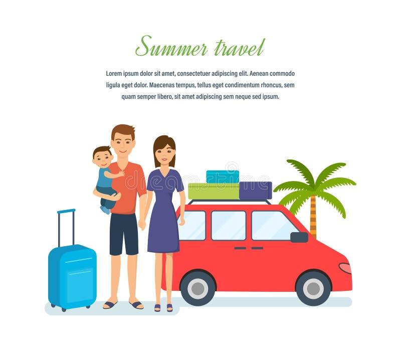 Familjen av tre, gick på lopp i sommar i bil royaltyfri illustrationer