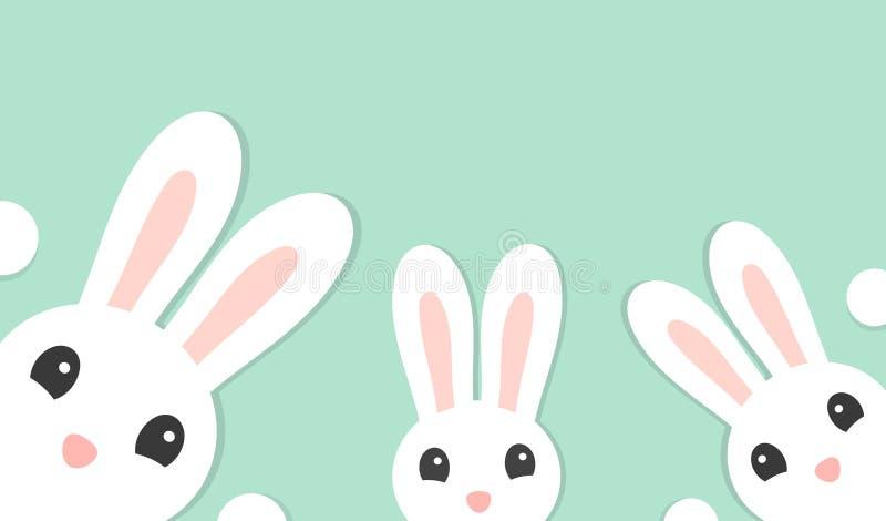 Familjen av tre gulliga vita kaniner, påskkort stock illustrationer