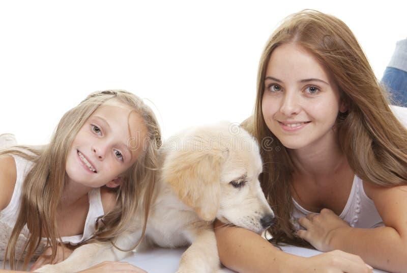 Familjen daltar valpen med flickor arkivfoto